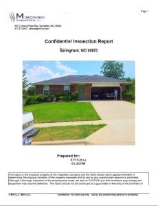 Mirowski Inspections - Home Inspection Report - Home Inspectors Springfield MO