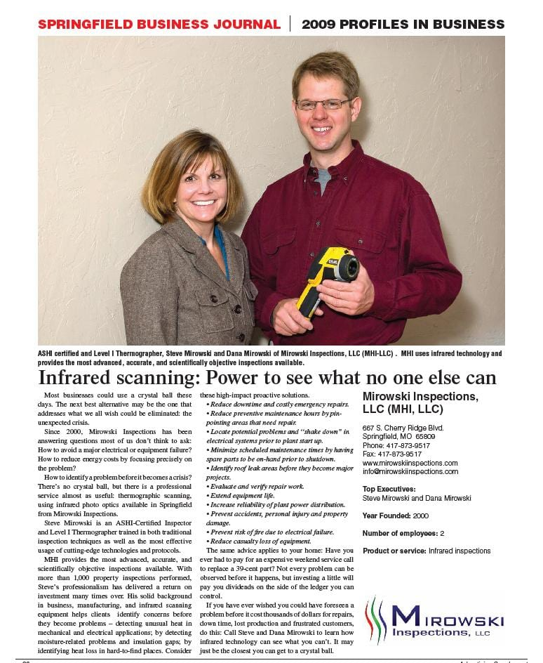 Mirowski Inspections-Springfield Business Journal 2009 Profiles in Business-Springfield Mo Home Inspectors